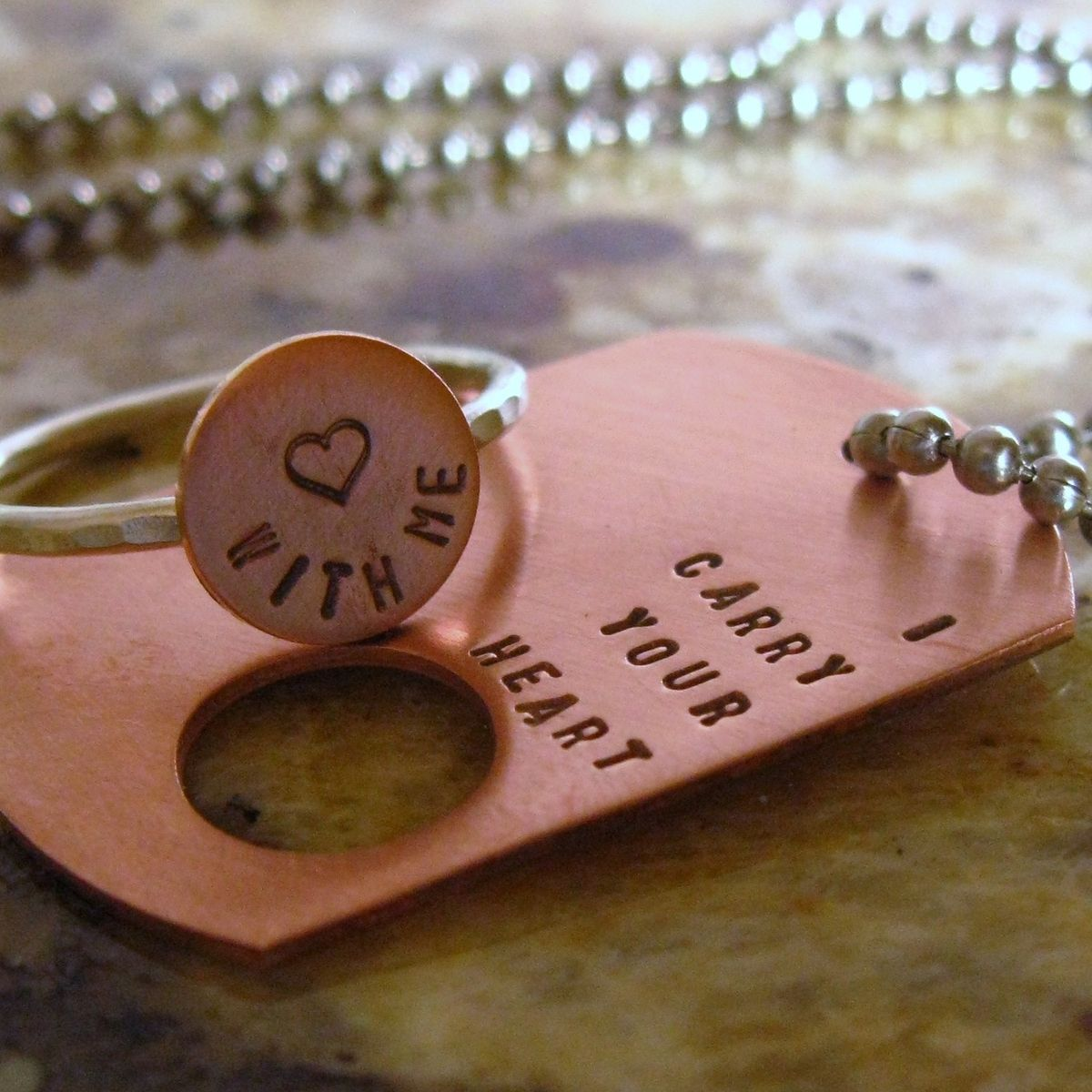 Hand Made I Carry Your Heart. Copper Dog Tag And Sterling Silver ...