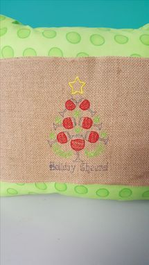 Custom Made Embroidered Pillow Wrap Made Of Burlap With Velcro Back - Includes Pillow 15 X 15