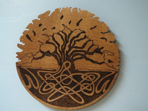 Custom Made Plaque Of Qak Design By Pyrography