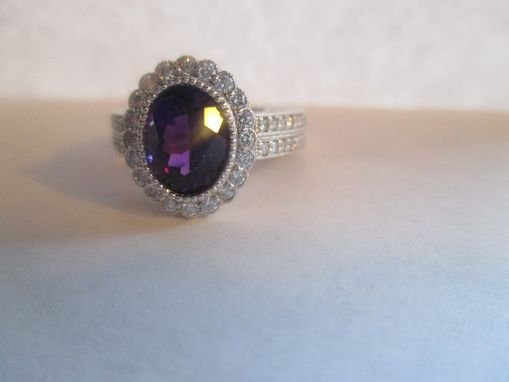 Custom Made Diamond Halo 14kt. White Gold With Amethyst Center