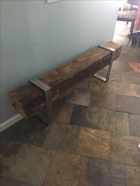 Custom Made Reclaimed Barn Bream And Iron Bench