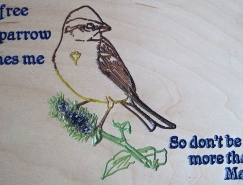 Custom Made Handmade Wood Sign Religious/Inspirational Matthew Quote Carved Sparrow & Hand Painted Artwork
