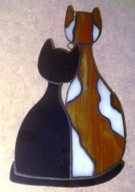 Custom Made Cozy Cats - Large Stained Glass