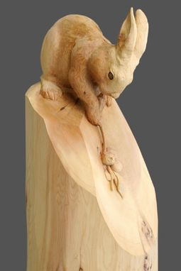 "Custom Made Round Carving ""Rabbit With Blue Berry Branch"""