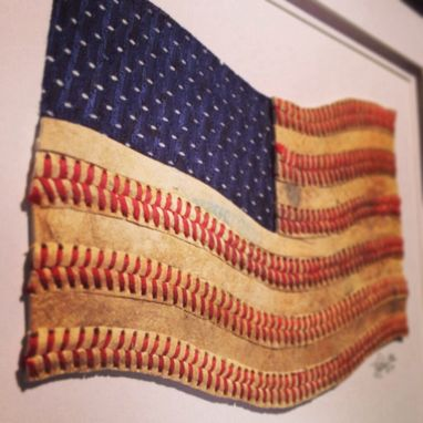 Custom Made Baseball American Flag Artwork - Made From Actual Used Baseballs