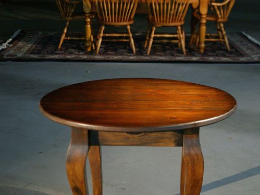 Custom Made Round End Table Brown Cherry Finish With French Legs