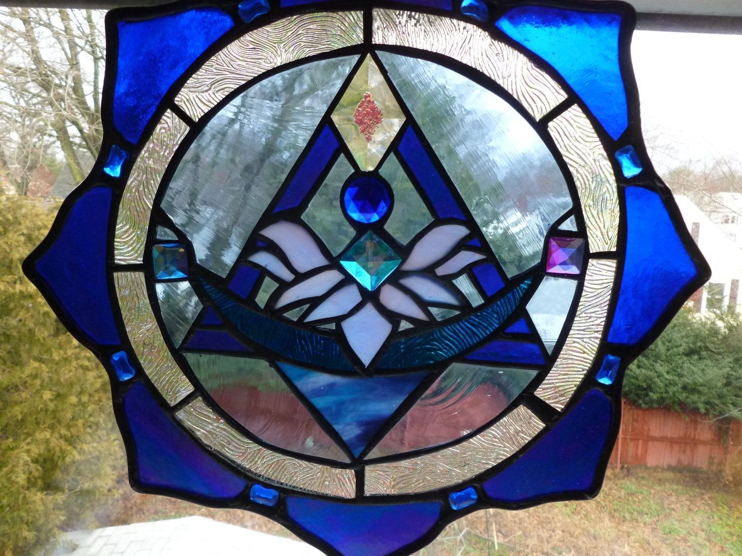 Buy A Handmade Bright Blue Stained Glass Lotus Flower Pyramid Made