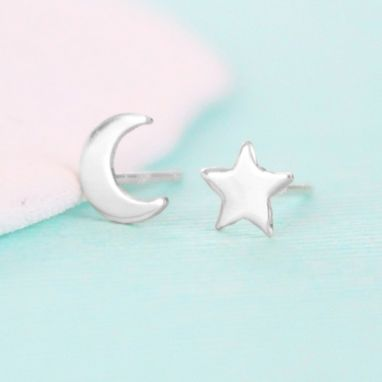 Custom Made Star And Moon Stud Earrings In Sterling Silver