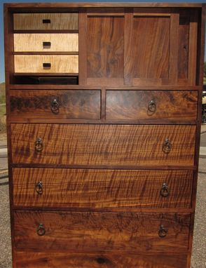 Custom Made Walnut Chest Of Drawers In The Cho Dansu Merchant's Style