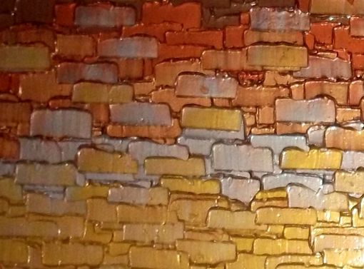 Custom Made Original Gold Painting, Abstract Palette Knife Art, Contemporary Impasto, Metallic Texture - 48x24