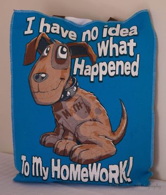Custom Made Upcycled The Dog Ate My Homework T-Shirt Bag / White Blue /