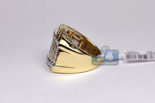 Custom Made 14k Yellow Gold 2.48 Ct Diamond Square Signet Mens Ring