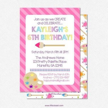 "Custom Made Art Party - Custom Double-Sided 5"" X 7"" Birthday Invitation"