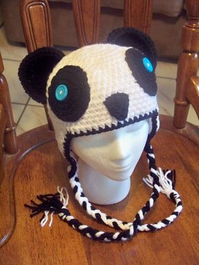 Custom Made Adult Crochet Panda Beanie With Earflaps