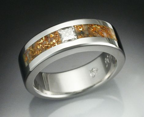 Custom Made Man's Diamond Ring In Platinum Inlaid With Gold Laced Quartz