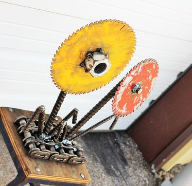 Custom Made Metal Flower Yard Art By Raymond Guest