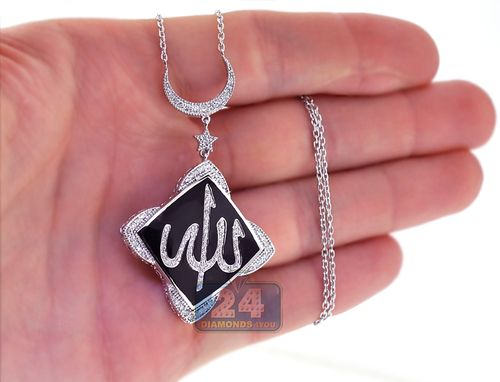 Custom Made 18k White Gold 0.70 Ct Diamond Onyx Allah Islamic Womens Necklace 18 Inches