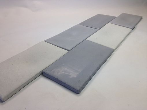 Custom Made Concrete Subway Tile - Tapered Edges - Gray White Shades