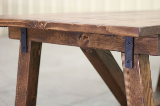 Buy a hand crafted rustic farmhouse table bench solid for Solid wood farmhouse table
