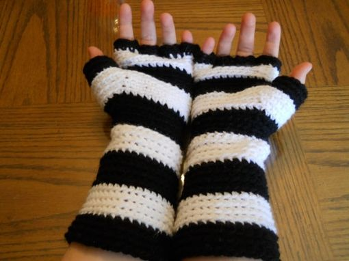 Custom Made 30% Off, End Of Winter Sale, Black And White Striped Fingerless Gloves