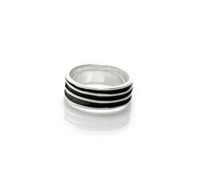 Custom Made Banded Mens Ring - Mans Wedding Band - 100% Recycled Sterling Silver - Eco Friendly Mens Fashion