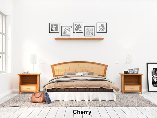 Custom Made Headboard Queen Bed Cherry And Maple, Art Deco, Modern, Curvy Inlay, King,