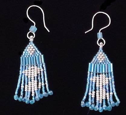 Custom Made Beaded Silver And Blue Necklace And Earrings