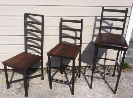 Custom Made Iron Ladder Back Chairs, Plus Seat, Wood, Leather, Etc. (Minimum Order 4)