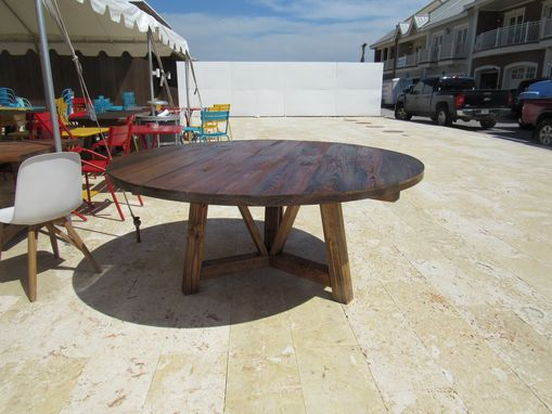 Custom Made Salvaged Wood Beam Round Dining Table