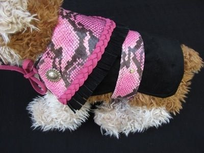 "Custom Made ""Python"" Trimmed Leather And Suede Dog Clothes"