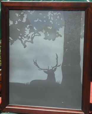 "Custom Made Framed Etched Glass For Walls Or Windows  "" Misty Morning Wildlife"""