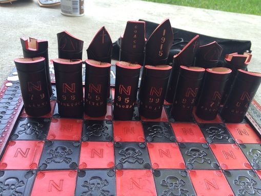Custom Made All Leather Chess Set