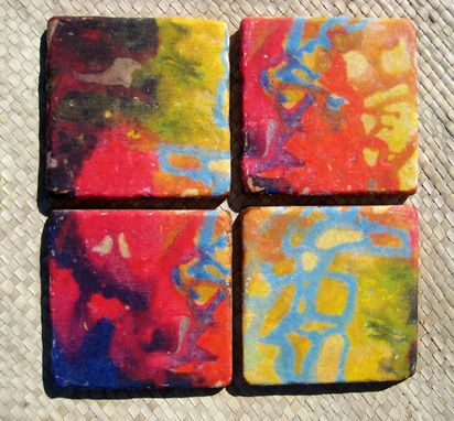 Custom Made Tile Coasters Handmade Tile With Multi-Colored Original Artwork -Set Of 4 Blue Red Orange Green