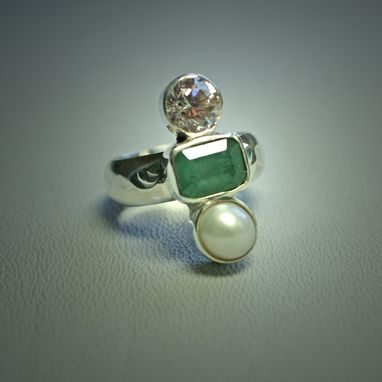 Custom Made Emerald, Pearl And Cz Dinner Ring