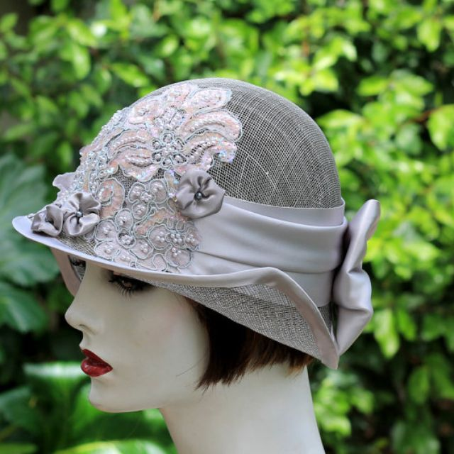 fb683e0e51641 Hand Crafted 1920s Vintage Style Summer Cloche Wedding Hat Pearls Sequins  Lace by Gail s Custom Hats