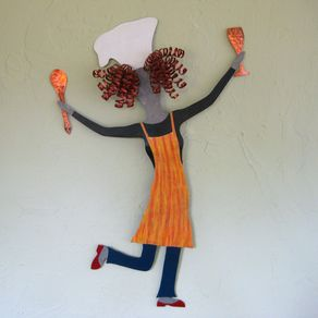 Lady Chef Recycled Metal Kitchen Wall Art Sculpture Hand Painted Red Yellow By John And Robbyn