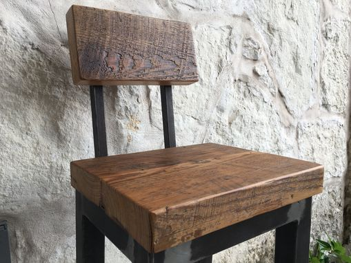 Custom Made Reclaimed Wood And Steel Stool