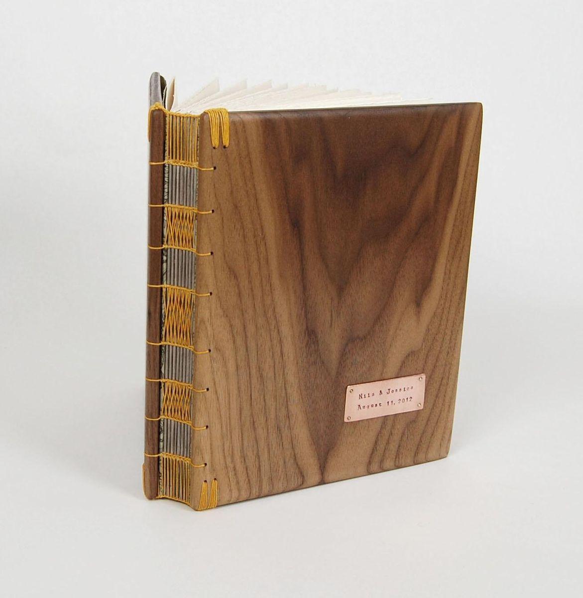 handmade wood guest book black walnut custom wedding personalized