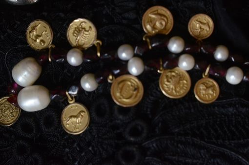 Custom Made Astrological Motif Gold , Rubies And Pearls Necklace