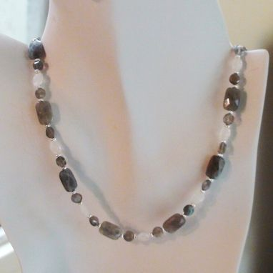 Custom Made Labradorite And Rainbow Moonstone Necklace In Silver