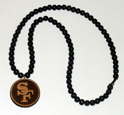 Custom Made Engraved Wood Bead Necklace And Pendant