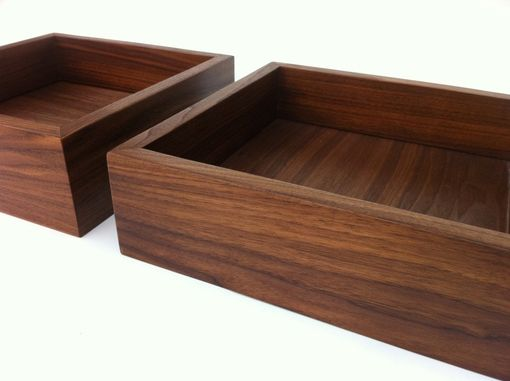 Custom Made Modern Walnut Display Box Tray - Large Zen Garden - Interior Design Decor