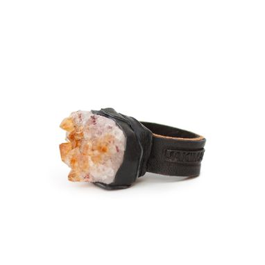 "Custom Made Citrine Cluster Gemstone Ring With Leather Band, ""Sashimi"""