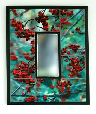 Custom Made Winter Berries Custom Tile Mirror