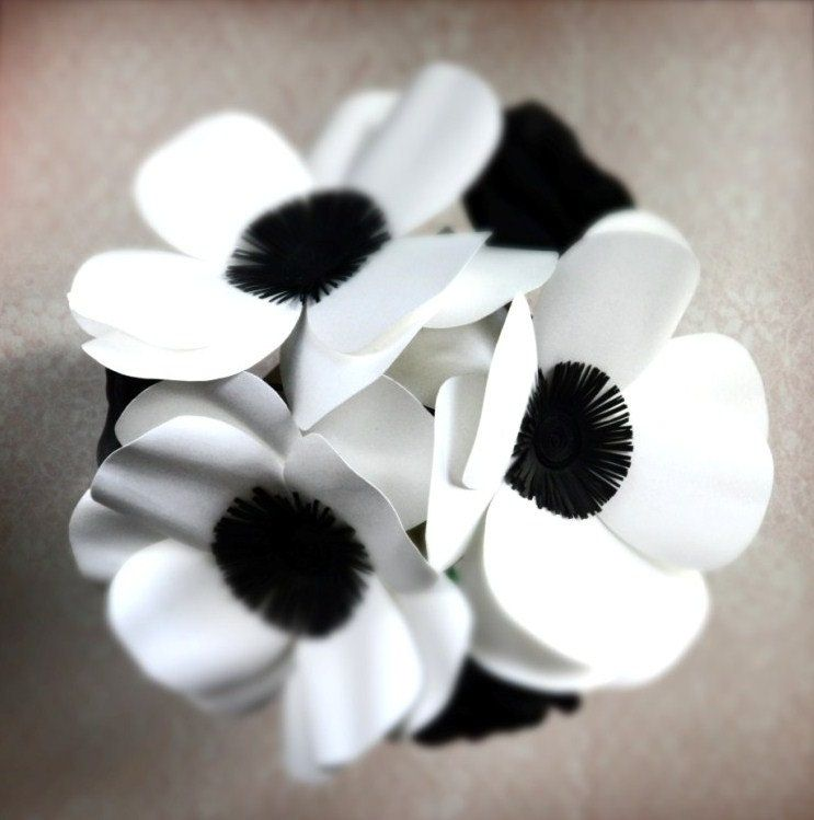 Hand crafted black and white anemones and roses paper flower bouquet hand crafted black and white anemones and roses paper flower bouquet box vase by dear betsy custommade mightylinksfo