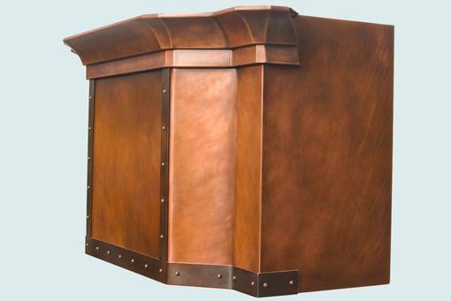 Custom Made Copper Range Hood With Wrap-Around Crown