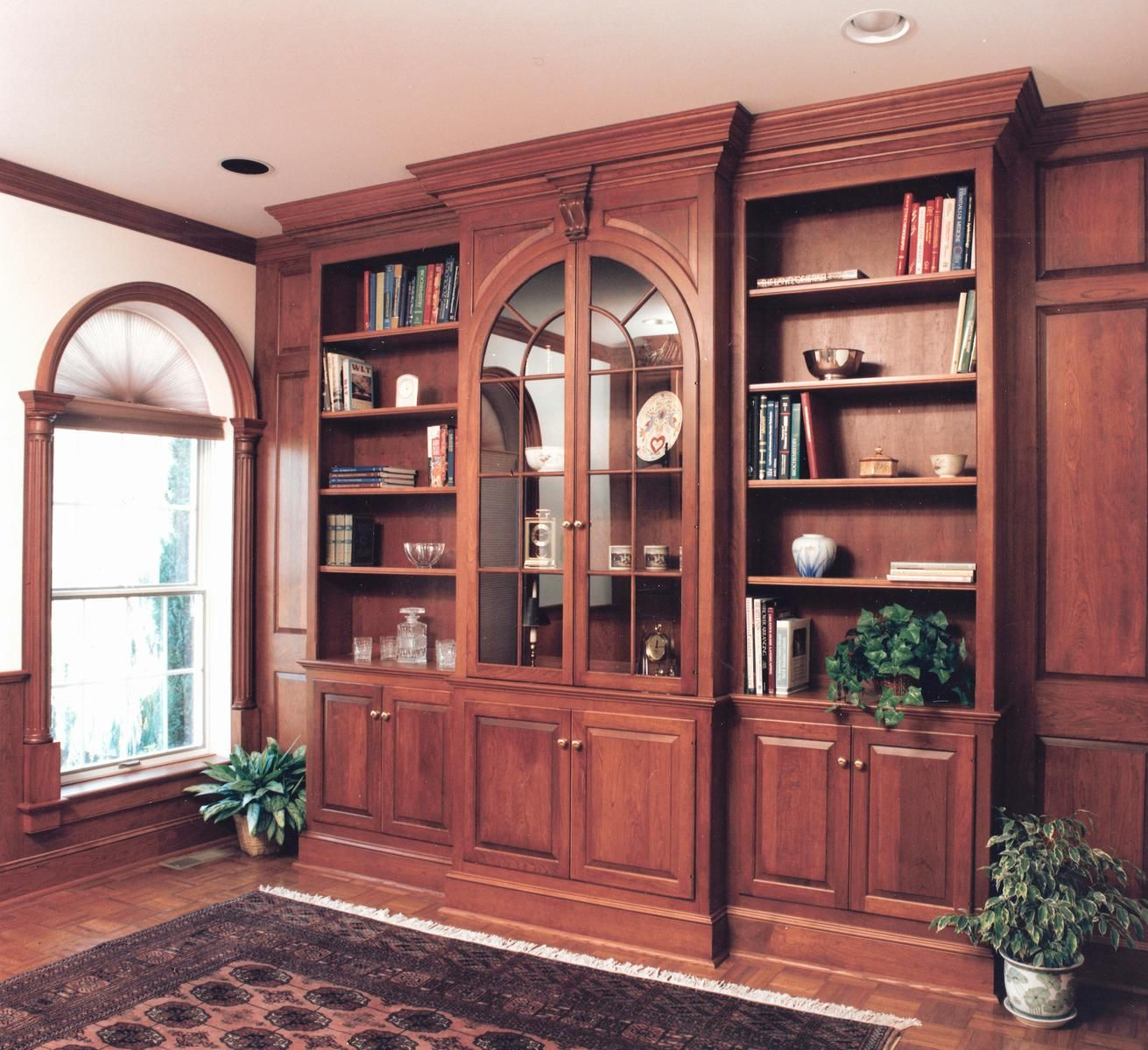 Hand Made Cherry Library Wall With Arched Glass Doors By