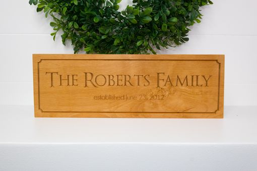 Custom Made Family Established Sign On Beech Wood