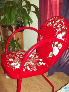 Custom Made Red Metal Yard Chair, Handpainted