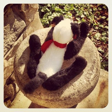 Custom Made Jointed Dog Terrier Collie /Hand Stitched Details /Recycled Materials